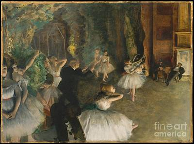 Degas Painting - The Rehearsal Of The Ballet Onstage by Edgar Degas