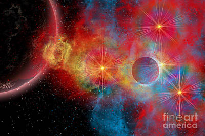 Planetary System Digital Art - The Remains Of A Supernova Give Birth by Mark Stevenson