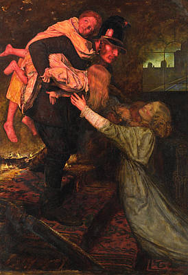Police Painting - The Rescue by John Everett Millais