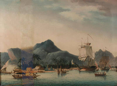 Resolution Painting - The Resolution And Discovery Off Hawaii by John