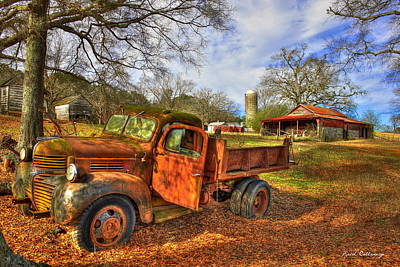 Old Houses Photograph - The Resting Place 2 Farm Life 1947 Dodge Dump Truck Art by Reid Callaway