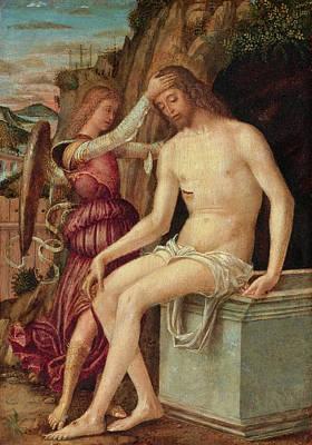 Giovanni Francesco Maineri Painting - The Resurrected Christ With An Angel by Giovanni Francesco Maineri