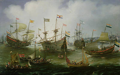 July Painting - The Return To Amsterdam Of The Second Expedition To The East Indies by Andries van Eertvelt