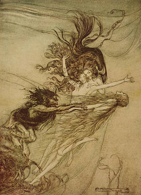 Extinct And Mythical Drawing - The Rhinemaidens Teasing Alberich by Arthur Rackham