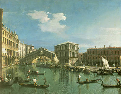 Grand Canal Gondola Painting - The Rialto Bridge by Canaletto