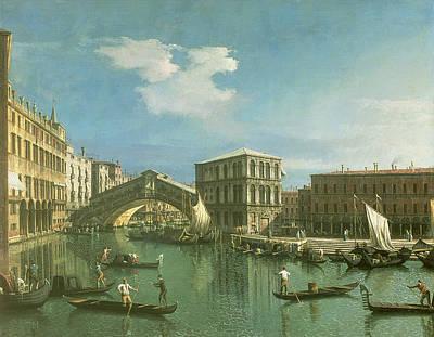 Rialto Bridge Painting - The Rialto Bridge by Canaletto