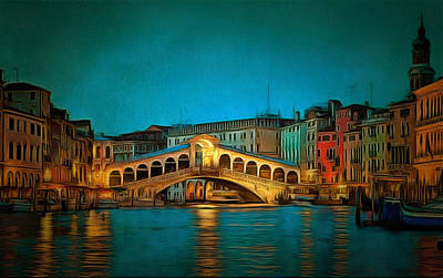 Covered Bridge Painting - The Rialto Bridge by Mario Carini