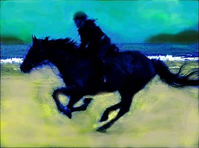 The Rider On The Beach  Original by Enki Art