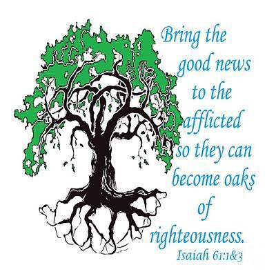 Tree Roots Digital Art - The Righteous Oak by Eloise Schneider