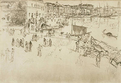Tonalist Relief - The Riva No 1 by James Abbott McNeill Whistler