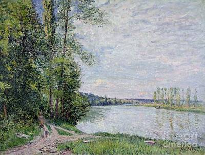 Thomery Painting - The Riverside Road From Veneux  by MotionAge Designs