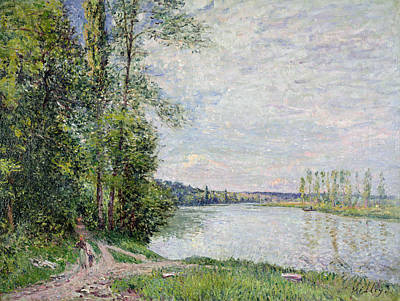 The Riverside Road From Veneux To Thomery Print by Alfred Sisley