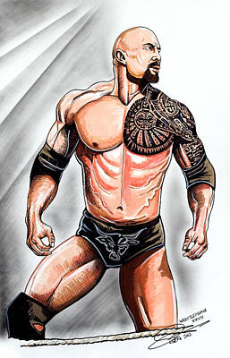 Wrestling Drawing - The Rock by Dave Olsen