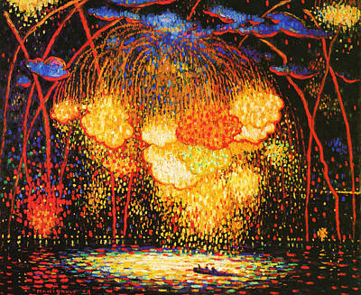 Fireworks Painting - The Rocket by Mountain Dreams