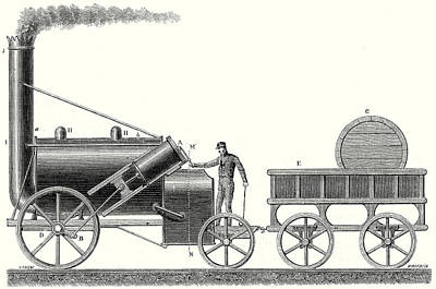 The Rocket Locomotive Of George And Robert Stephenson Print by English School