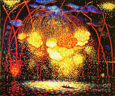Fireworks Painting - The Rocket by Pg Reproductions