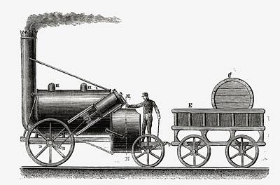 Rocket Drawing - The Rocket. Steam Engine Partially by Vintage Design Pics