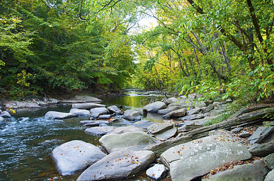 The Rocky Wissahickon Creek - Philadelphia Print by Bill Cannon