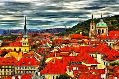 Prague Digital Art - The Rooftops Of Prague  by Jean-Marc Lacombe