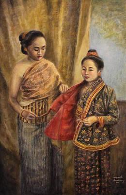 Laos Painting - The Royal Ensemble by Sompaseuth Chounlamany