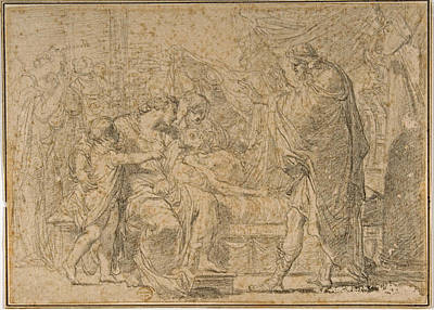 Drawing - The Royal Family Of Troy Mourning The Death Of Hector by Gaetano Gandolfi