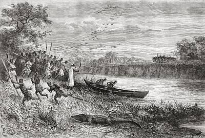 Crocodile Drawing - The Ruhaha River, Tanzania, Central by Vintage Design Pics
