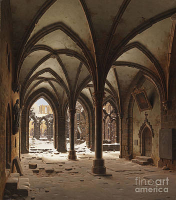 Adolph Painting - The Ruins Of The Monastery Walkenried In Winter by Celestial Images