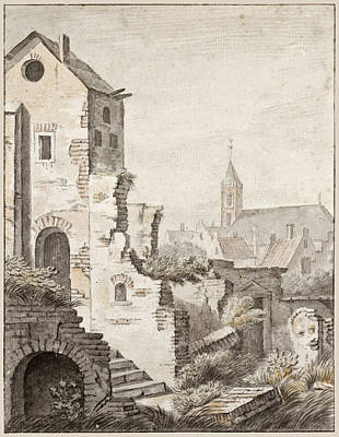 Drawing - The Ruins Of Utrecht by Herman Saftleven