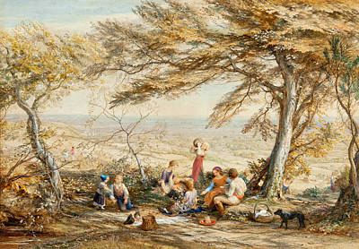 Samuel Palmer Drawing - The Rustic Dinner by Samuel Palmer