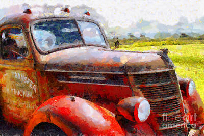 Old Trucks Digital Art - The Rusty Old Jalopy . 7d15509 by Wingsdomain Art and Photography