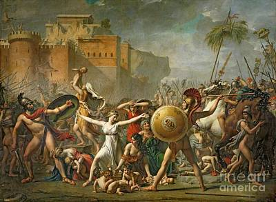 Mythological Painting - The Sabine Women by Jacques Louis David