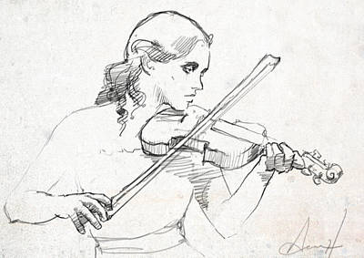 Violin Drawing - the Sad Song by H James Hoff