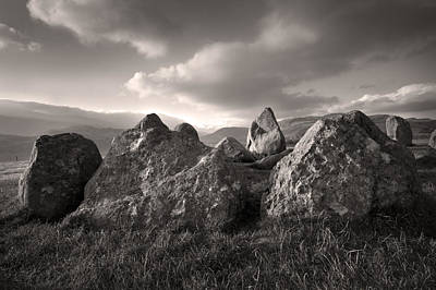 The Sanctuary Castlerigg Stonecircle Sepia Print by Brian Northmore