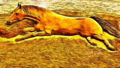 Gravel Digital Art - The Sand Horse - Da by Leonardo Digenio