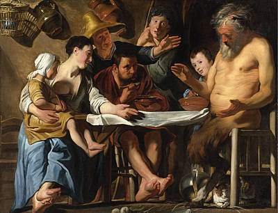 Jacob Jordaens Painting - The Satyr And The Peasant Family by Jacob Jordaens