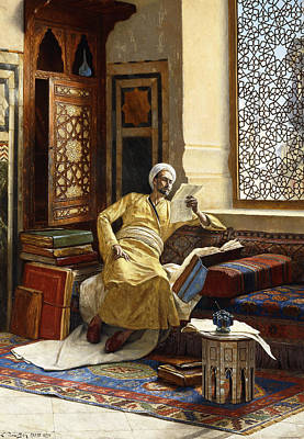 Persian Carpet Painting - The Scholar by Ludwig Deutsch
