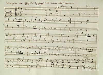 The Score Of Spring Print by Joseph Haydn