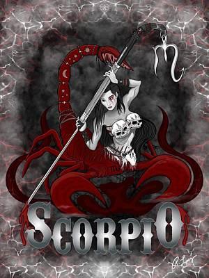 Print featuring the drawing The Scorpion - Scorpio Spirit by Raphael Lopez