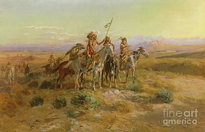 Badlands Painting - The Scouts by Charles Marion Russell