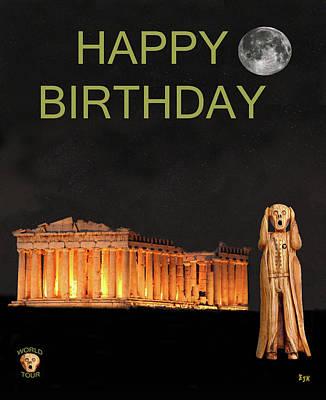 Parthenon Mixed Media - The Scream World Tour Athens Happy Birthday by Eric Kempson
