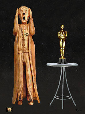 Olive Wood Sculpture Mixed Media - The Scream World Tour Oscars by Eric Kempson