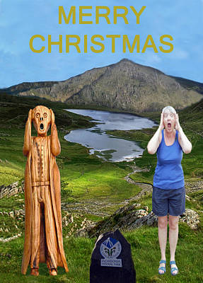 North Wales Mixed Media - The Scream World Tour Snowdon With Jill Beddoes Christmas by Eric Kempson