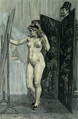Felicien Rops Drawing - The Screen by Felicien Rops