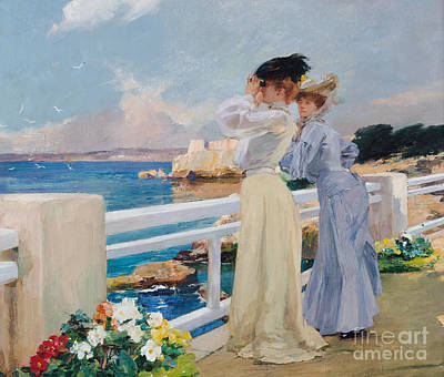 Riviera Painting - The Seagulls by Albert Pierre Rene Maignan