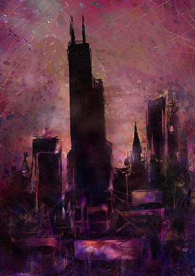 Sears Tower Digital Art - The Sears Tower by Rachel Christine Nowicki