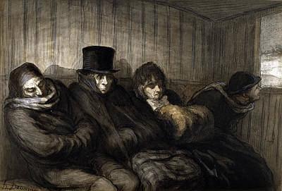 Daumier Drawing - The Second Class Carriage by Honore Daumier
