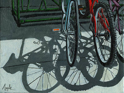 Bicycling Painting - The Secret Meeting - Bicycle Shadows by Linda Apple