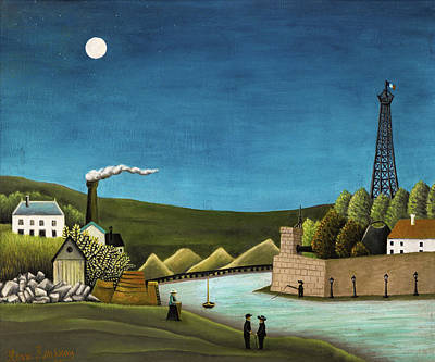 Pseudo Painting - The Seine At Suresnes by Henri Rousseau