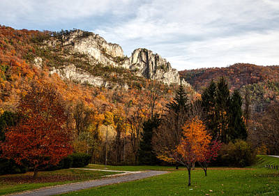 The Seneca Rocks In Autumn Print by Mountain Dreams