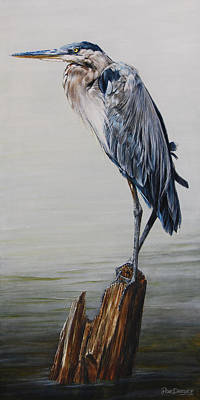 Lake Painting - The Sentinel - Portrait Of A Great Blue Heron by Rob Dreyer AFC